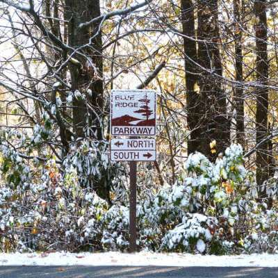 Blue Ridge Parkway North-South Sign in Snow