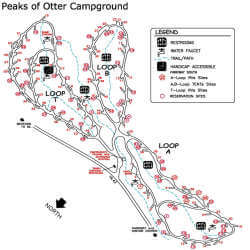 Peaks of Otter Campground Map
