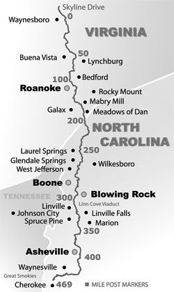 Simple Blue Ridge Parkway Map