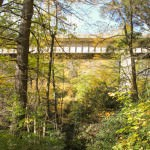 The trail crosses directly under the Sims Creek Viaduct.