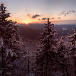Panorama of the Linn Cove Viaduct in Winter