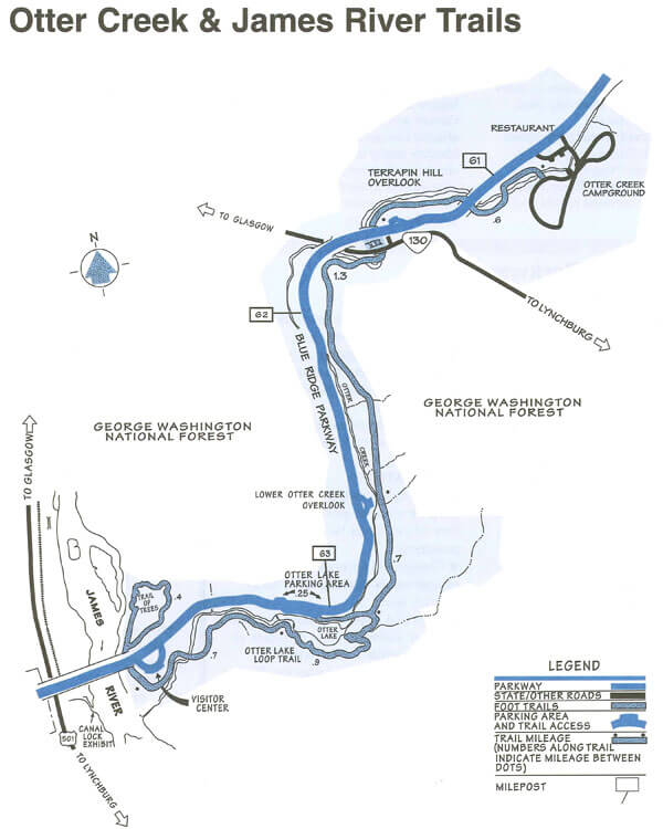 Otter Creek And James River Trails Map